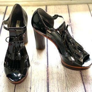 Pour La Victoire Platform Heels - Black Patent